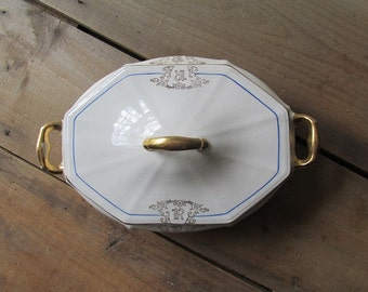 """Covered Serving Dish Vintage Monogrammed """"R"""" China Crescent China"""