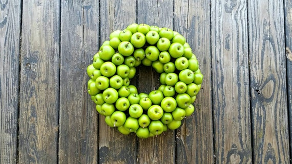 Apple Wreath, Green Apple Wreath, Christmas Wreath, Holiday Wreath, Fall Wreath, Autumn Wreath
