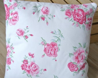 SALE: Decorative shabby chic pillow cover, cushion cover, three fabrics, flowers, roses