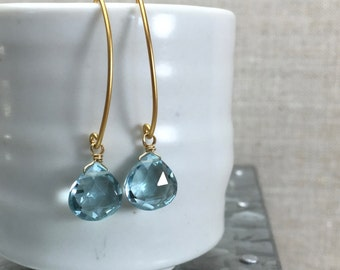 Aqua Hydro Quartz Briolette Earring, Drop Dangle Gemstone Earring on Gold Elliptical Ear Wire, Style Number E1025