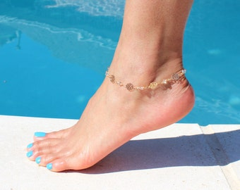 Rose Flower Chain Anklet