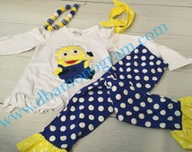 Girls Monogram Minion Ruffle Legging Set including Headband and necklace, Birthday Oufit