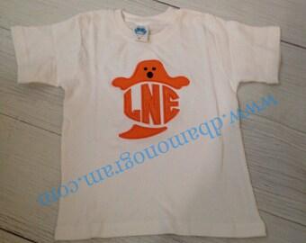Monogram Ghost Halloween Fall Monogram Shirt, Boy or Girl Fall Shirt