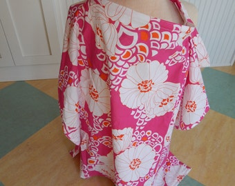 Extra coverage nursing cover in fuschia, orange, and white mod floral print