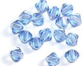 20 Vintage Swarovski Crystal Bicones/ Lt. Sapphire/ Jewelry Beads/ Bracelets/ Necklaces/Silk Ribbons/Charms/Swrarovski/ Sassy Silks/101-0005