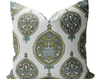 Decorative Fabric, Medallions, Suzani, Chartreuse, Aqua, Grey, 18x81, 20x20, 22x22 or Lumbar, Throw Pillow