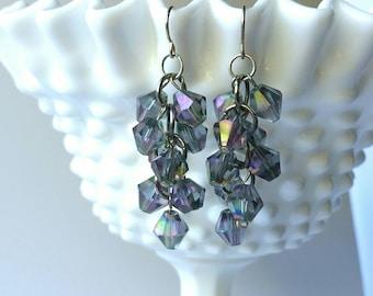 Purple AB Cluster Earrings