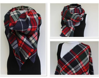 Blanket Scarf, Plaid Scarf, Tartan Scarf, Plaid Blanket Scarf, Oversized Scarf, Winter Scarf, Tartan Plaid Shawl, Birthday Gift for Her