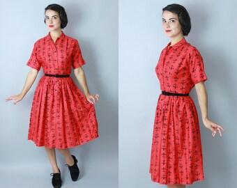 1950s Fleur de Lis dress | vintage 50s black & red printed cotton shirtwaist dress | small