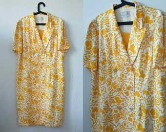 Vintage 1970s Sunflower Yellow Floral Housewife Dress - Plus Size - 1940s 50s Landgirl Style Retro Plus Size