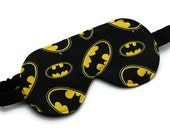 Men's Sleep Mask, Batman, Travel Accessory, Gift for Man, Father's Day, Black, Made in Canada, Yellow, Black, Bat