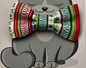 Christmas Kitty Bow Tie, Dog Bowties, Collar Accessory, Cat Costume, Pet Fashion, Green, Red, White, Gift for Cat, Stripes Gift for Dog
