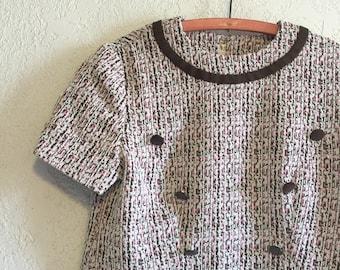Pink & Brown Vintage Mod Pullover Top ~ M