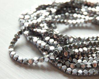 Teeny tiny SILVER hematite cube beads - full strand of 2mm silver tone hematite, 2mm rounded cube beads, small silver hematite beads, strand