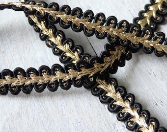 Japanese trim in black and gold - THREE YARDS, 10mm wide trim, sari border, black and gold trim, black and gold metallic trim - 3 yards