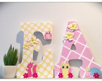 Happi Tree Inspired. Owl Nursery. Hedgehog. Pink. Paisley. Girls Nursery. Wood letters. Baby Girl. Pink and Yellow. Nursery Letters.