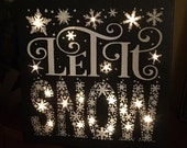 Lighted Hand-painted Let It Snow Christmas/Winter Canvas