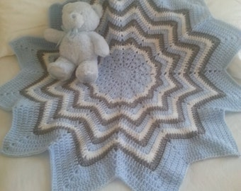 "Crochet baby boy blue star shaped blanket  33"""