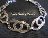 Celtic Jewelry, Bracelet Sterling Silver, Beau Sterling Bracelet, Silver Links Stamped