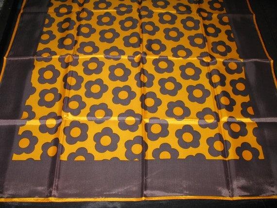 Brown Scarves Geometric Op Art Scarf Square 60s Vintage Scarves