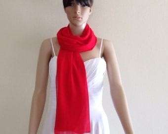 Red Long Scarf. Wrap Scarf.