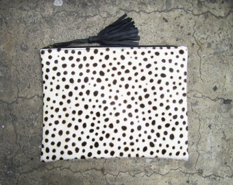 Leopard Dalmatian Print Calf Hair Zipper Pouch Leather Clutch