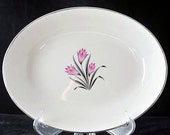 Grantcrest Pink Crocus 9 Inch Oval Serving Vegetable Bowl with Pink and Black Flowers Mid Century Dinnerware