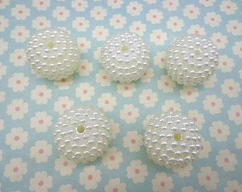 15pc 32mm Yang mei shape Ivory White Pearl beads,faux pearl beads,plastic beads