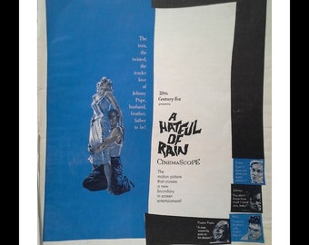 "Artistic Movie Poster ""A Hateful of Rain""  Eva Marie Saint crossed lovers 'the twisted, the tender love...' COOL poster.  Ready for Framing."