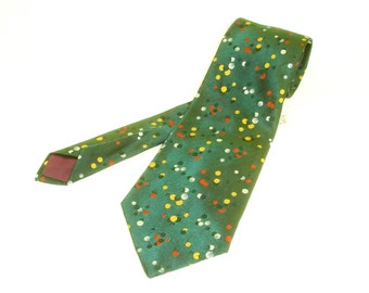1970s Wide Green Disco Era Tie Mens Vintage Dark Green Polyester Necktie with Woven Orange, Yellow & White Abstract Dot Designs by Juster's