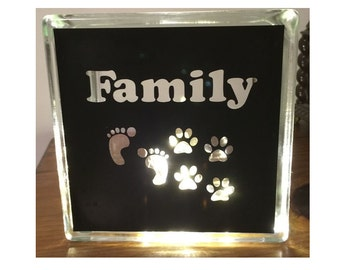 Dogs are Family Glass Block Night Light Home Decor with Fairy Lights Vinyl