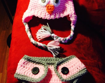 Infant Owl Hat and Minion Hat with matching Diaper Cover
