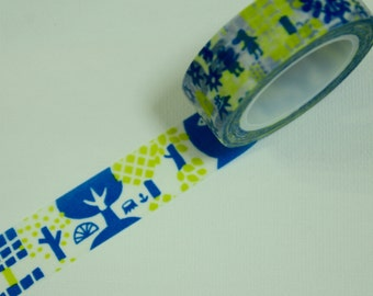 1 Roll of Japanese Washi  Tape- Abstract Trees