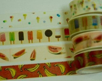 1 Roll Japanese Washi Tape (Pick 1): Ice-Cream, Popsicle, Watermelon, Or Banana