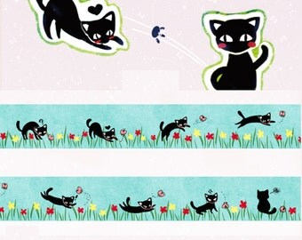 1 Roll Limited Edition Washi Tape: Playful Black Cat