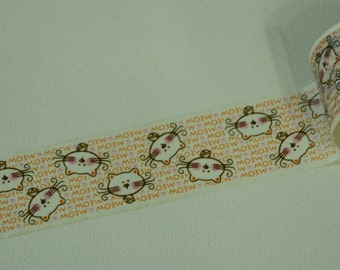LAST ONE: 1 Roll Japanese Washi Tape- Meow Kitty Cat