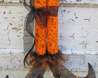 "Primitive Folk Art ~ Witch Boots  16"" Tall w/ Halloween Fabric Stockings ~Hanging or Shelf Sitter~HAFAIR"