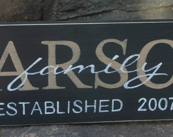 Personalized Family Name Sign, Couple Wedding Gift, Last Name Sign, Established Sign, Custom Wooden Sign, Wood Plaque,Handpainted Wood Sign