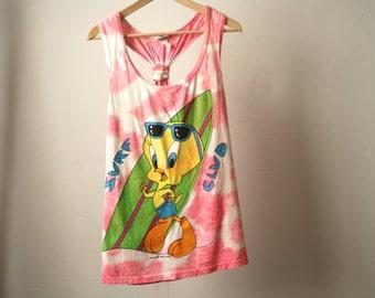 Looney Tunes 90s SURF club hip hop crossover tank top vintage tie dye pink & white tweety bird