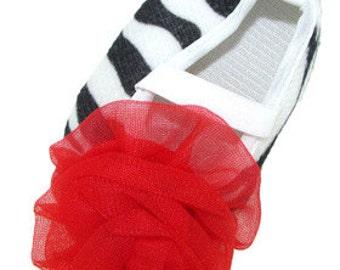 Red Zebra Crib Shoes