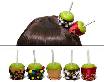 Mini Candy and Caramel Apple Hair Clips, Place Setting, or Party Favors - Made to Order