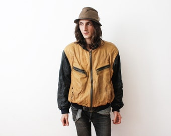 Vintage 1980s Aged Worn in Leather Jacket Moustard Yellow /Black