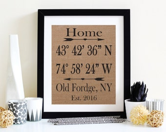 Burlap Housewarming Gift - Home Coordinates Burlap - GPS Coordinates Gift - Wall Decor - Burlap Print - House Warming Gift - Rustic Decor