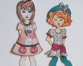 Two Julie Nutting Paper Pieced Doll Toppers - Chiara in Green and Girl in Pink