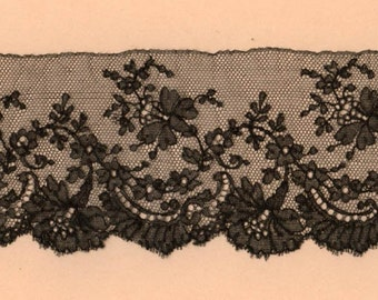 """Antique French Chantilly Lace Edging 37"""" by 2 3/4"""""""
