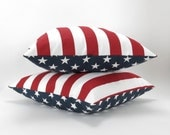 Reversible Pillow Covers, Stars and Stripes, Set of Two -MANY SIZES- American flag pillow,  patriotic decor, red white blue, July 4th