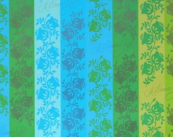 Vintage Greetings Inc. SHOWER Gift Wrap - Wrapping Paper - Floral STRIPES - 1960s