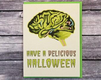 Halloween Card Zombies Monsters Brains Food