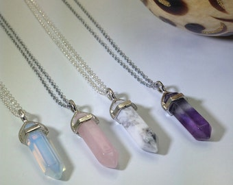 FLASH SALE Crystal Point Necklace Crystal Pendant Necklace, Opalite, Rose Quartz, Amethyst Pendant, Healing Crystal Necklace, Boho Necklace