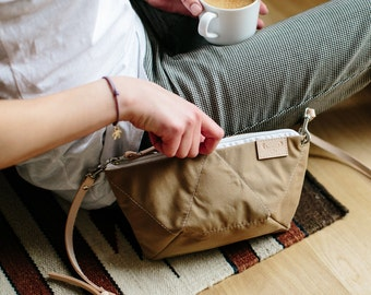 BEE BEIGE cross body purse / natural leather strap / cotton small bag / beige shoulder purse